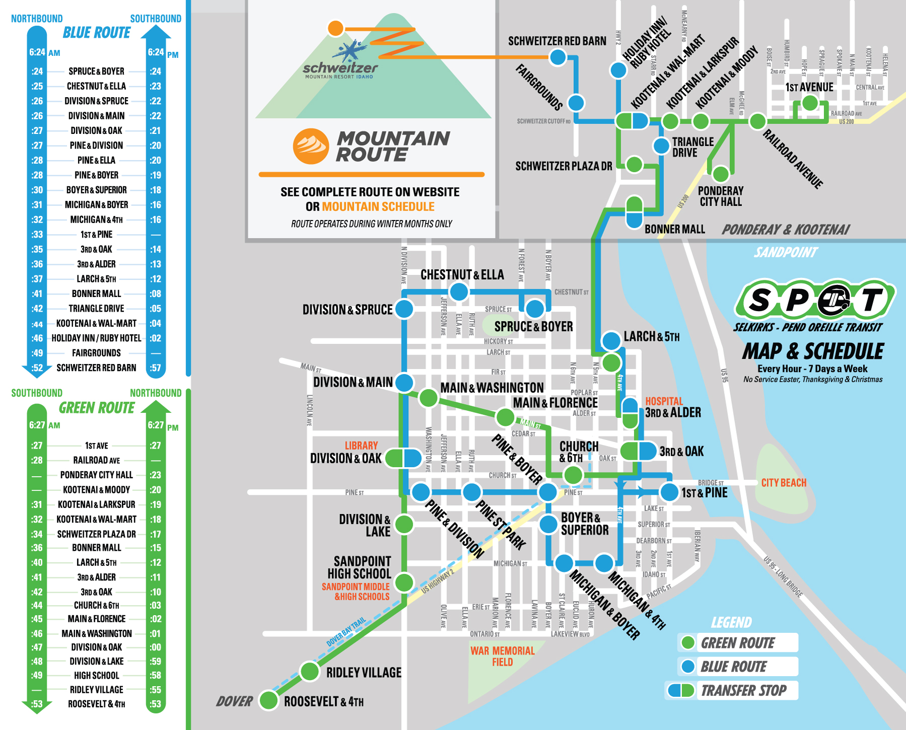Combined Sandpoint and Ponderay/Kootenai Route Maps